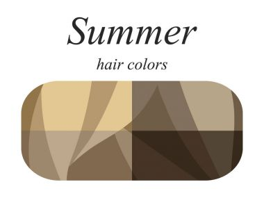 Stock vector seasonal color analysis palette for summer type of female appearance. Hair colors for summer type.