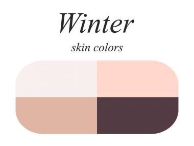 Stock vector seasonal color analysis palette for winter type of female appearance. Skin colors for winter type.