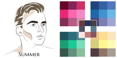 Stock vector color guide. Seasonal color analysis palette for summer type of male appearance. Face of young man.
