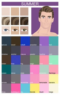 Stock vector color guide with color names. Eyes, skin, hair color. Seasonal color analysis palette for summer type of male appearance. Face of young man