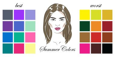 Stock vector seasonal color analysis palettes with best and worst colors for summer type of female appearance. Face of young woman