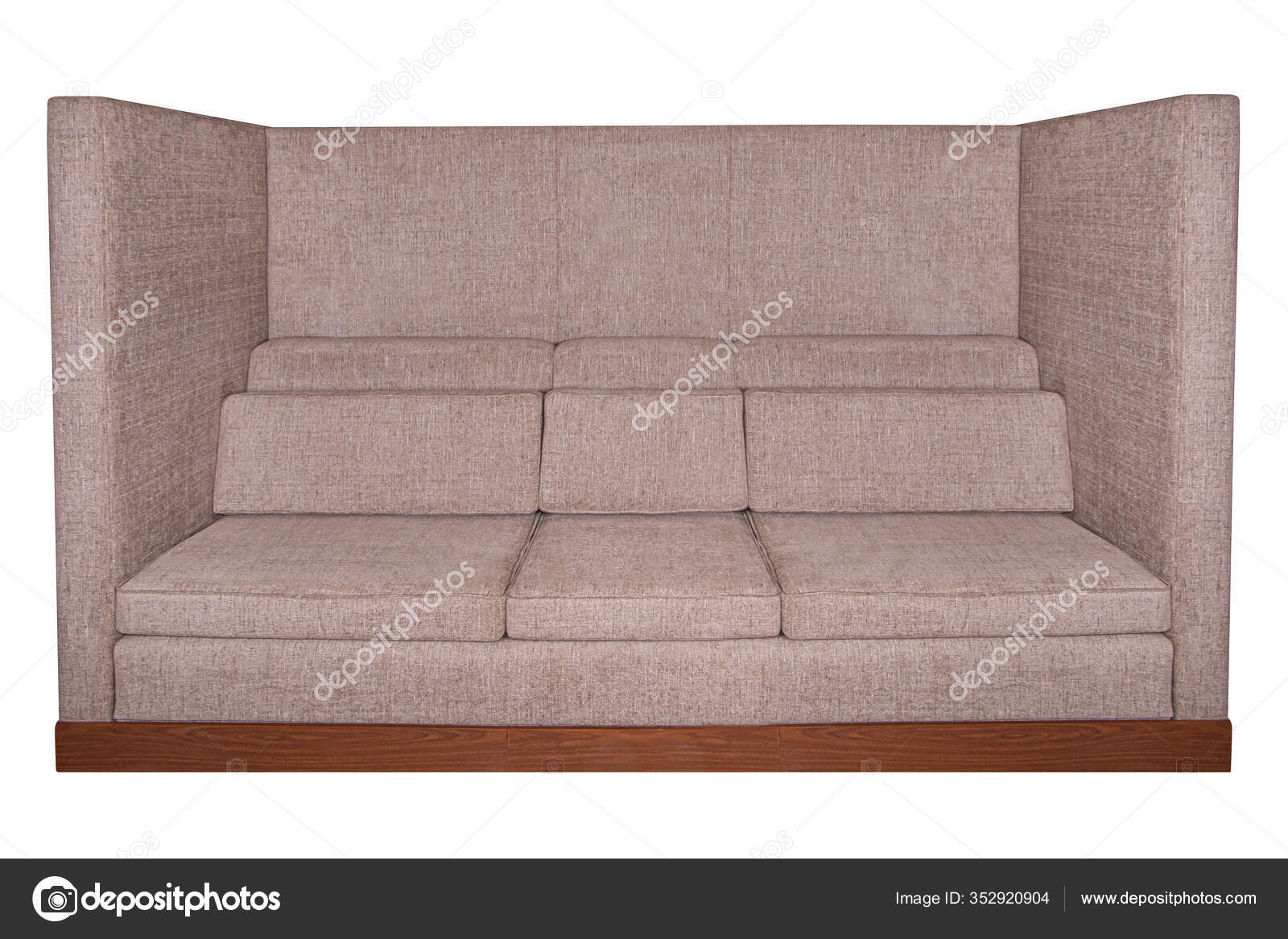 Brown big office sofa furniture isolated on white background at front view  with pillows 46