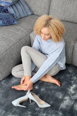 Foot massage. Aching feet.