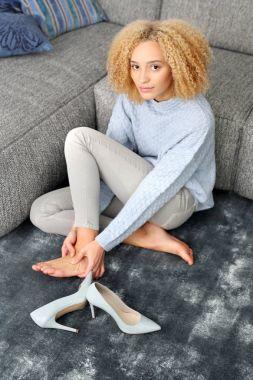 Aching feet.Foot massage.