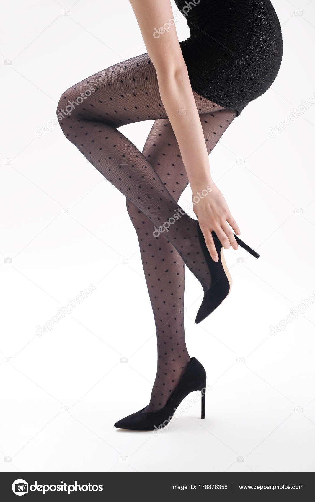 Harisnya Formás Női Lábak Fekete Harisnya Magas Sarkú Cipő — Stock ... 33900511c9