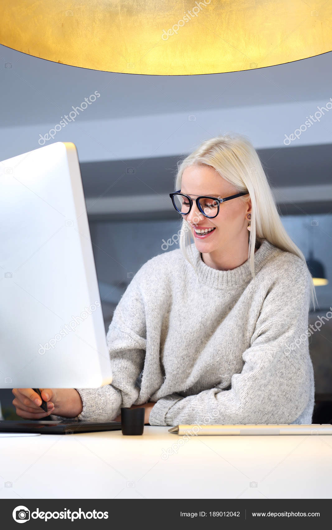Medical Recorder Woman Typing Computer Stock Photo