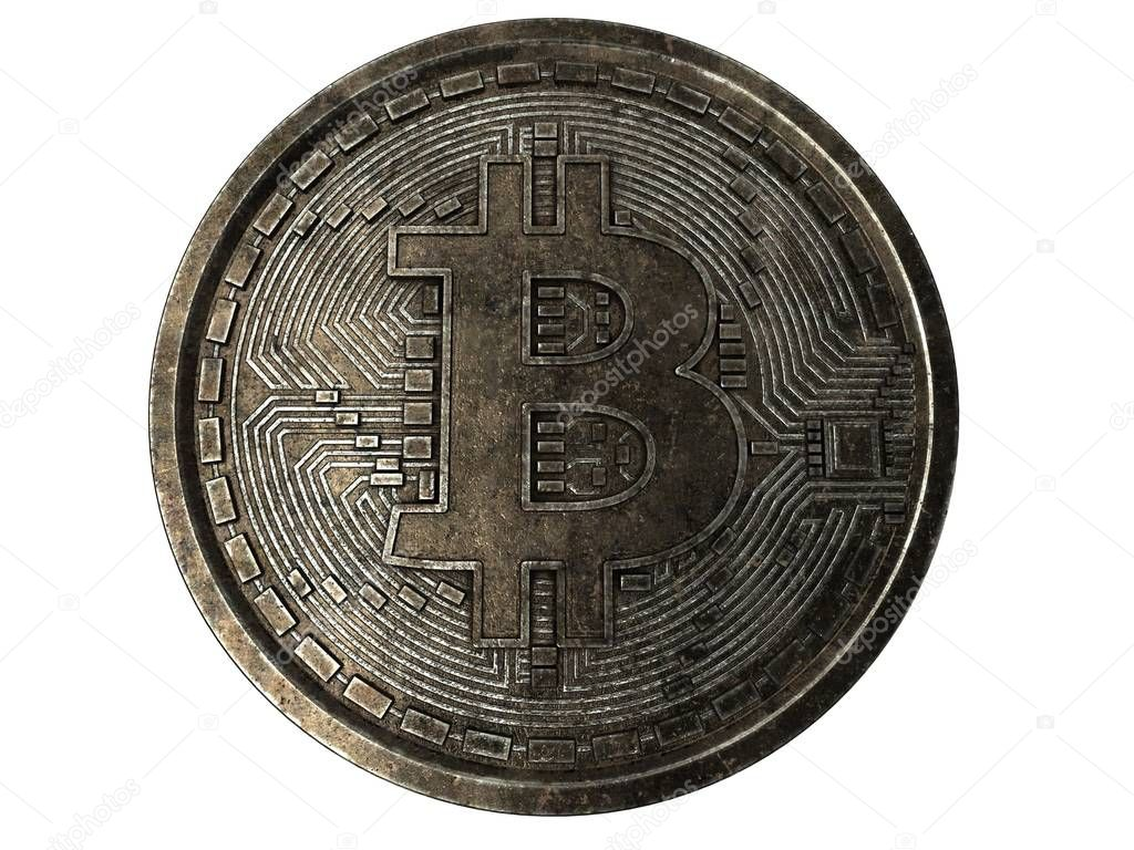 Bitcoin. Physical bit coin. Digital currency. Cryptocurrency. Golden coin with bitcoin symbol isolated on white background. 3d rendering