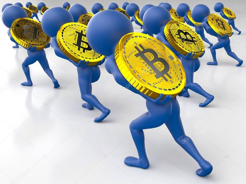 a crowd of 3d small blue men slowly pulling the coats uphill dragging a heavy gold coin bitcoin isolated on white background. 3d render