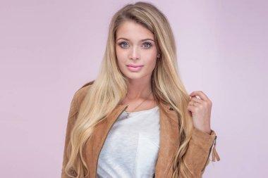 Portrait of beautiful blonde girl.