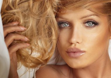 Portrait of blonde sexy woman.
