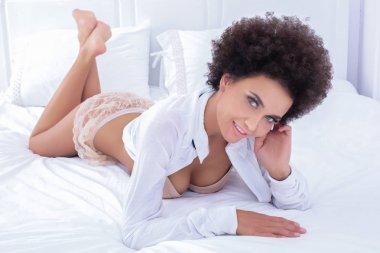 Sensual african american in lingerie.