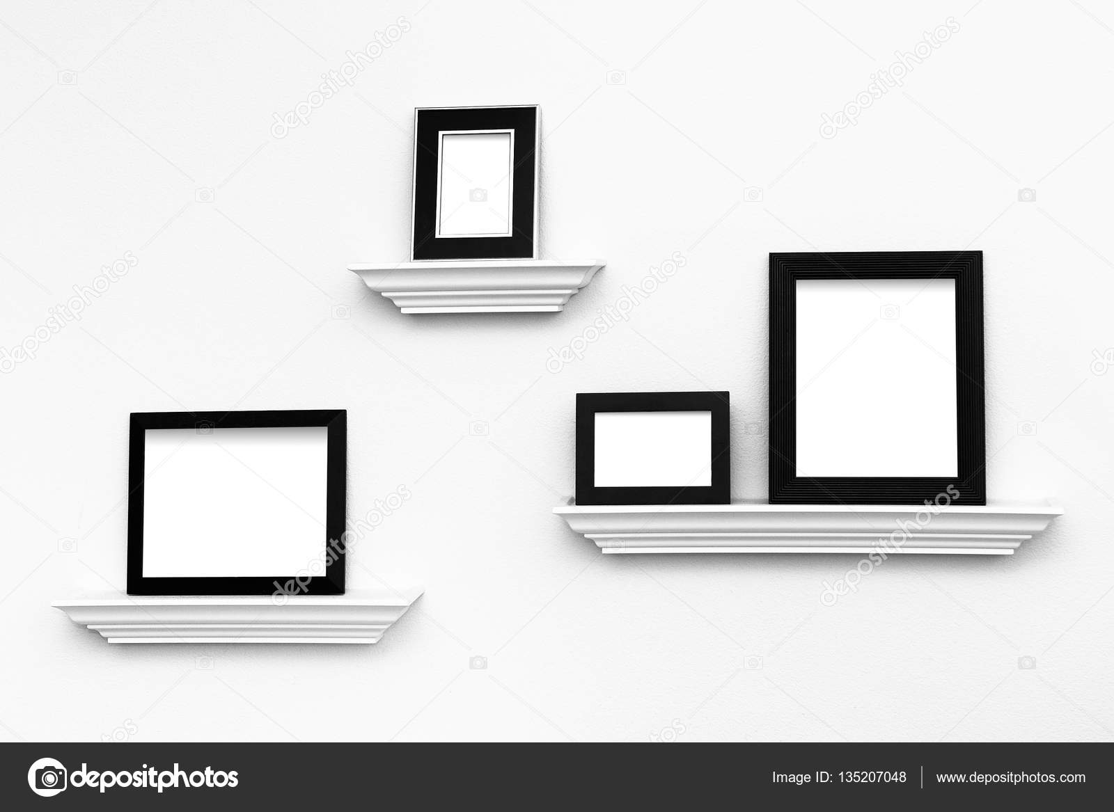 Multiple Blank picture frames on Ledges on a wall — Stock Photo ...