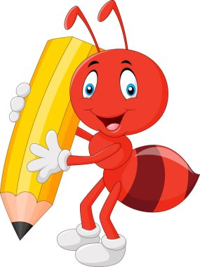 Cartoon red ant holding pencil