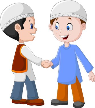 Cartoon Muslim Boys Shaking Hands