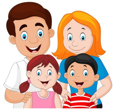 Vector illustration of Happy family together on white background clip art vector
