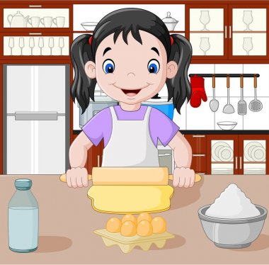 Cartoon little girl stretching the dough