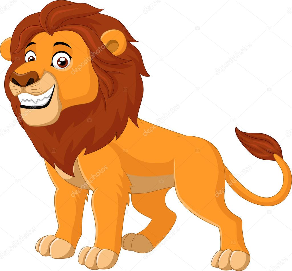 Cartoon funny Lion wal...