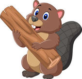 Photo Cartoon beaver holding wood