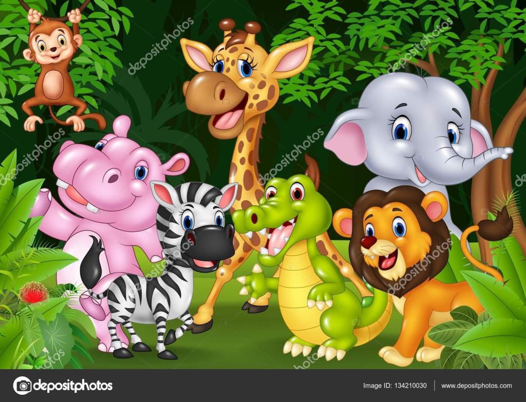 Fondos De Animales Animados: Dibujos Animados De Animales Salvajes En La Selva