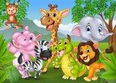 Kreslený divoké zvíře v džungli