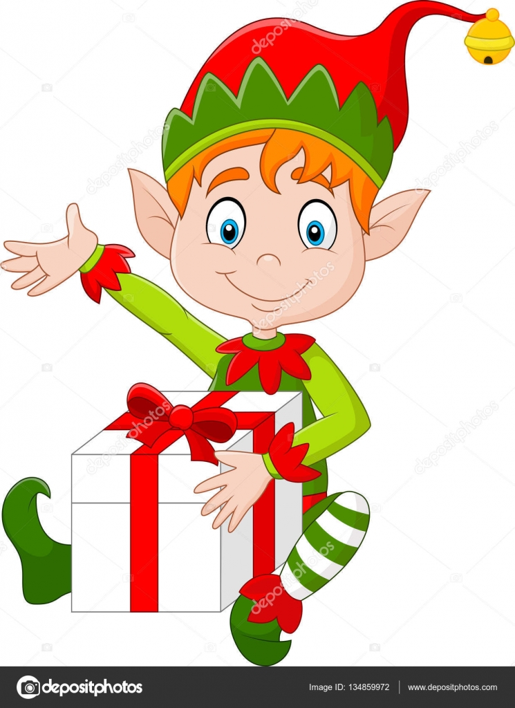 Cartoon elf holding gift box stock vector tigatelu 134859972 cartoon elf holding gift box stock vector negle Gallery