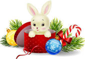 Photo Cartoon rabbit in a Christmas gift box
