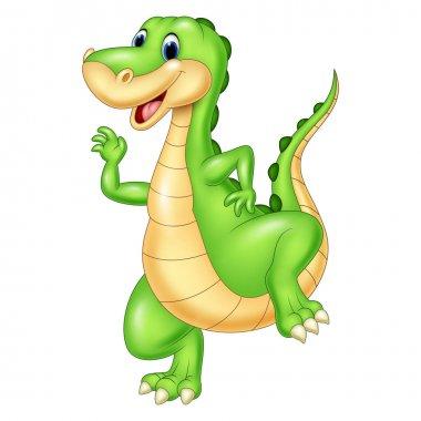 Vector illustration of Cartoon green dinosaur stock vector
