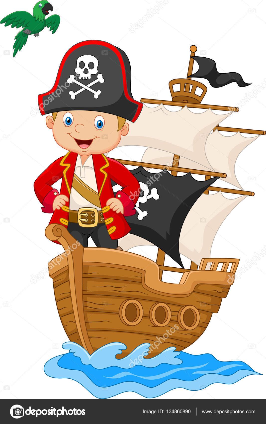 Dessin Animé Petit Pirate Sur Son Navire Image Vectorielle