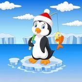 Fotografia Pinguino di pesca del fumetto in piedi su un lastrone di ghiaccio