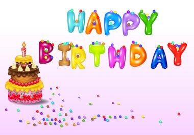 Birthday card with birthday cake