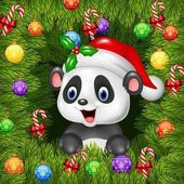 Photo Christmas background with happy panda bear