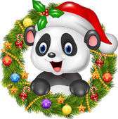 Photo Christmas wreath with happy panda bear
