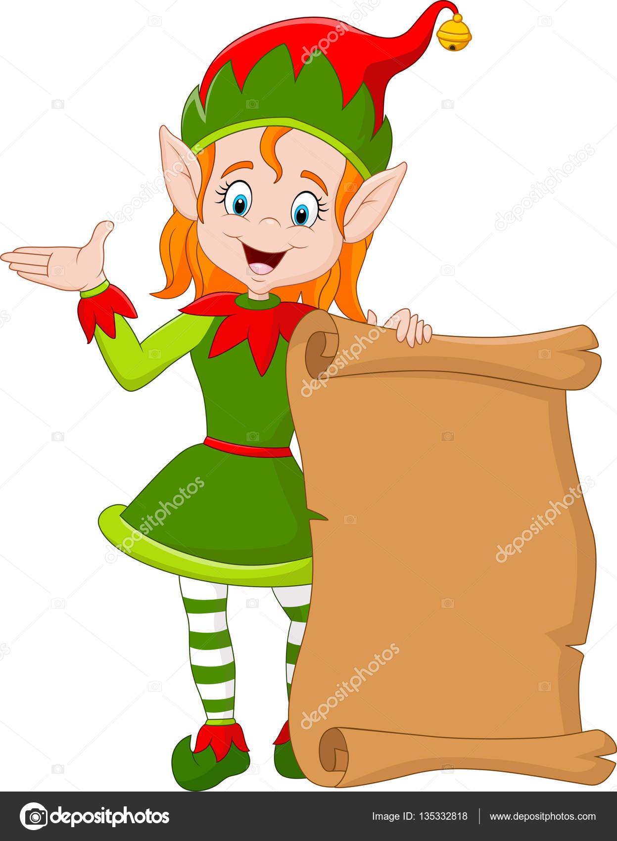 Dibujos animados a Niña elfo de Navidad con rollo de papel viejo ...