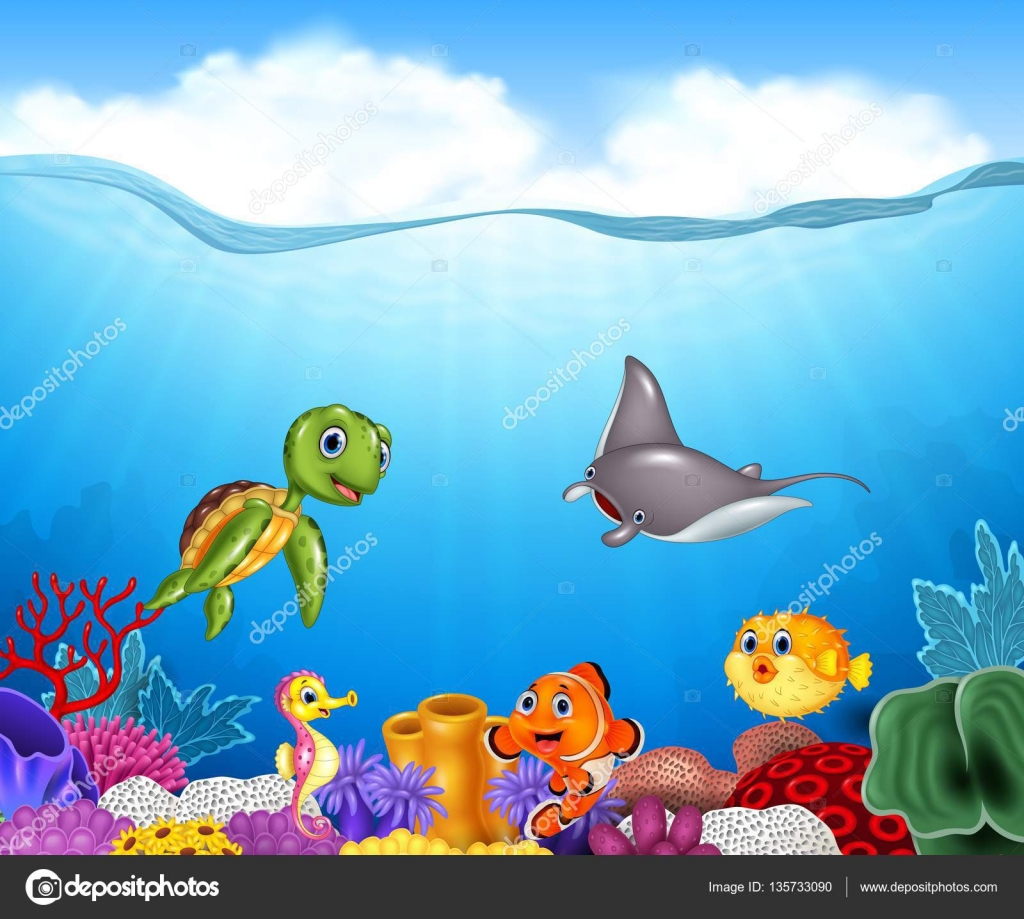 Cartoon tropical fish with beautiful underwater world stock vector cartoon tropical fish with beautiful underwater world stock vector publicscrutiny Images