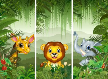 Set of three african animals with tropical forest background