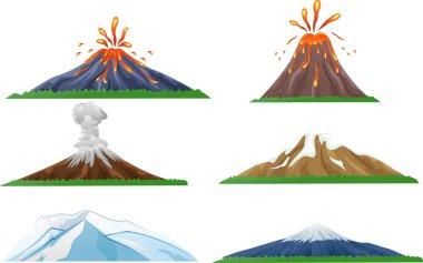 Cartoon volcano eruption set
