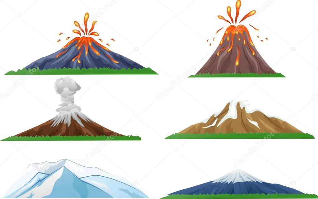Cartoon volcano eruption set