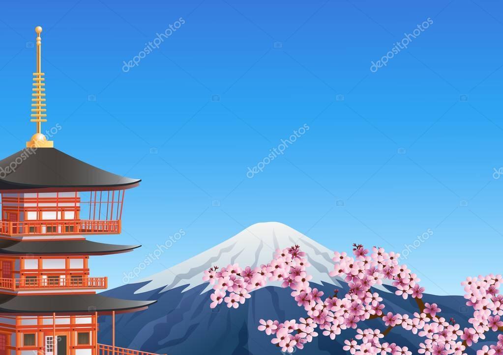 Chureito Pagoda and mount Fuji with sakura blossom