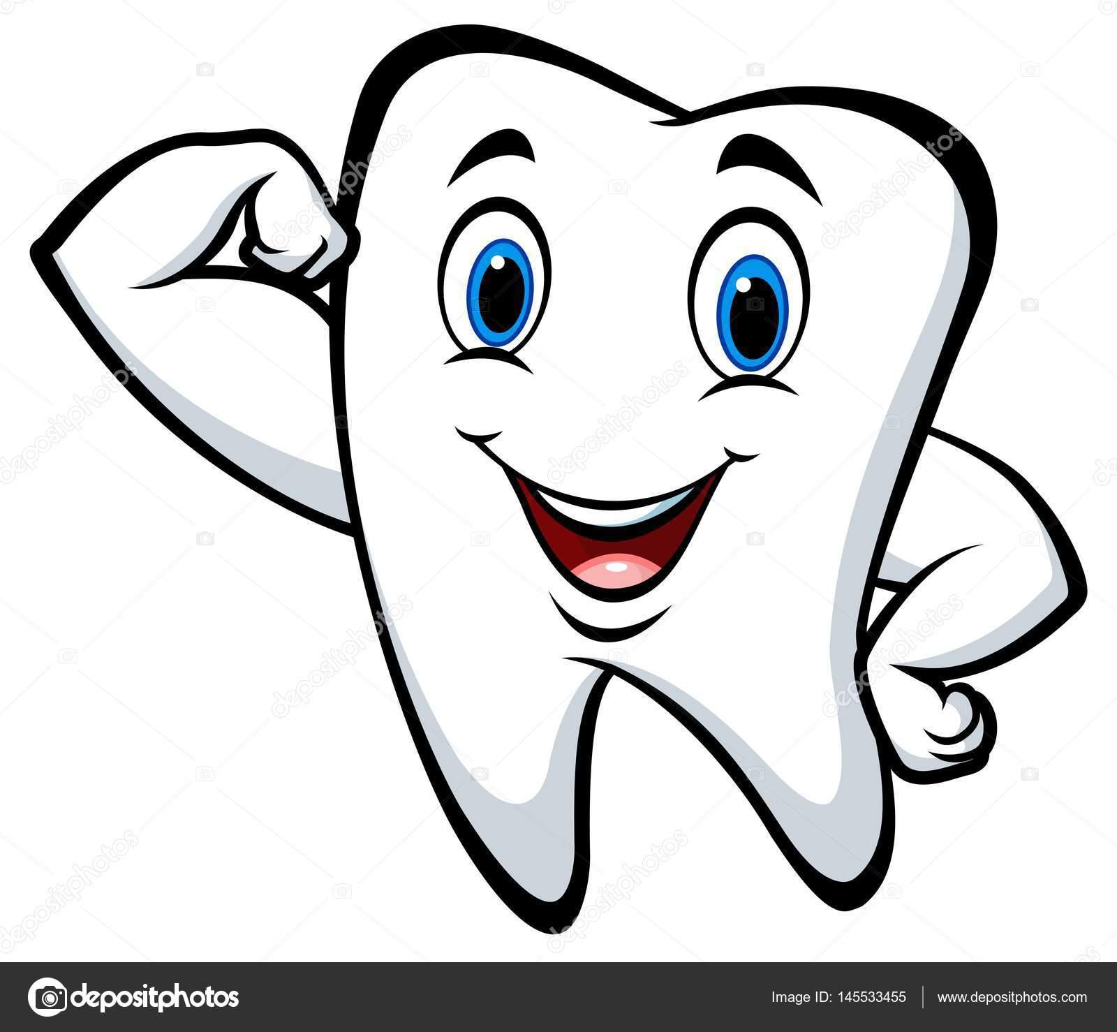 1 Toothed Cartoon Characters : Personagem de desenho animado dente forte — vetores