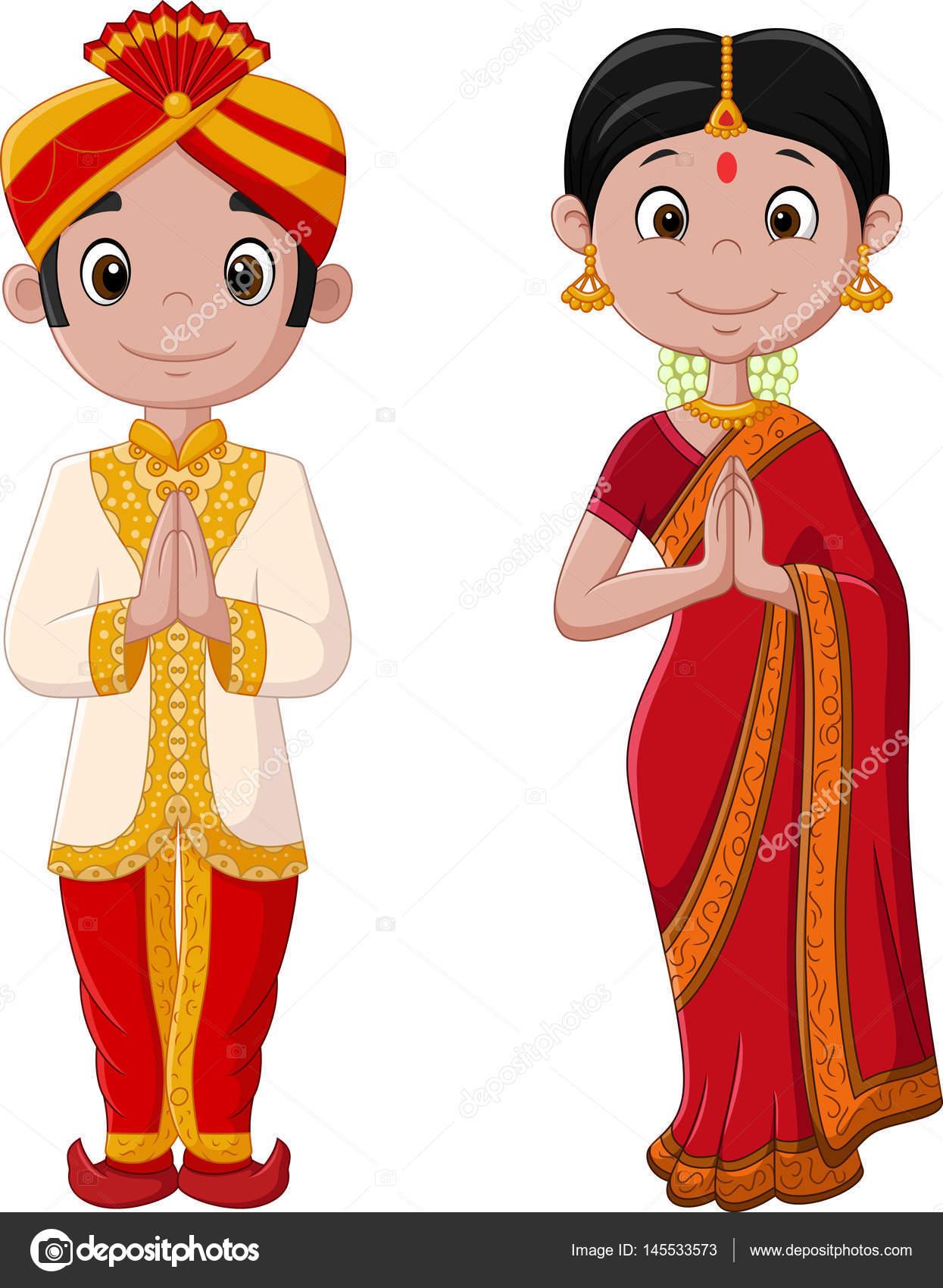 Caricatura De Pareja India Traje Tradicional Archivo