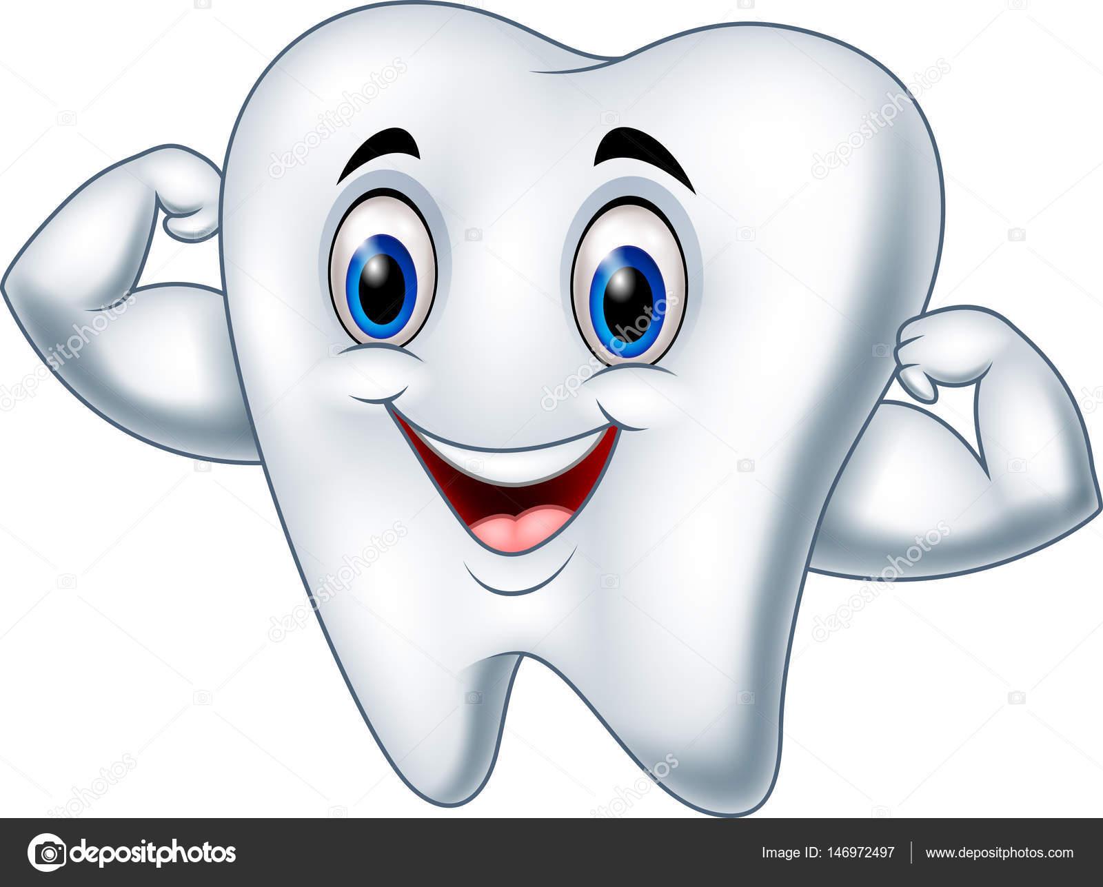 1 Toothed Cartoon Characters : Personaje de dibujos animados dientes fuertes — vector