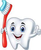 Fotografie Cartoon-Zahn, der eine Zahnbürste hält und den Daumen nach oben gibt