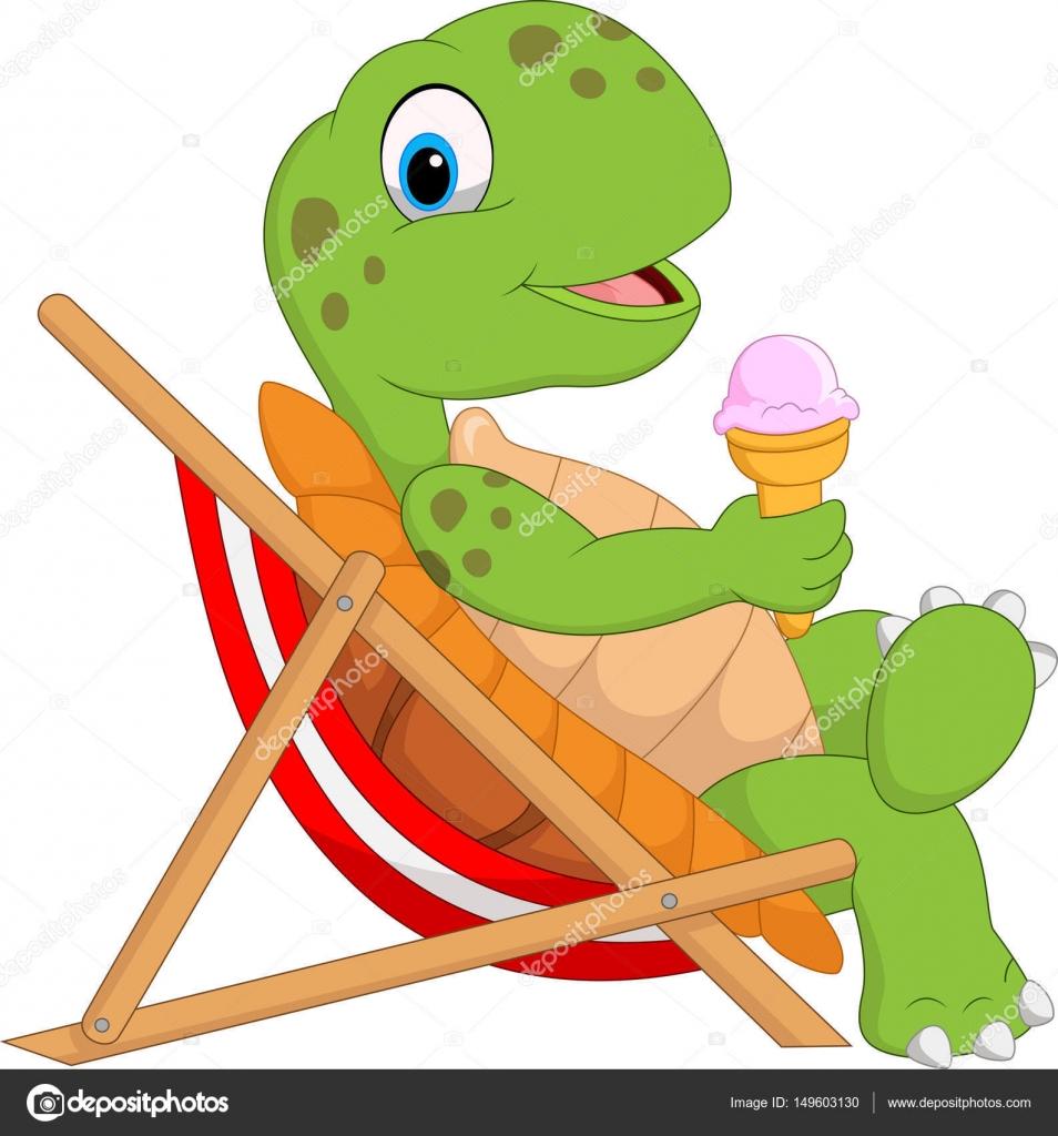 Strandkorb comic  Schildkröte im Strandkorb sitzen und halten ein Eis — Stockvektor ...
