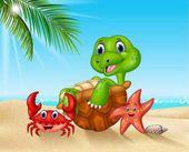 Kreslený mořští živočichové relaxaci na pláži