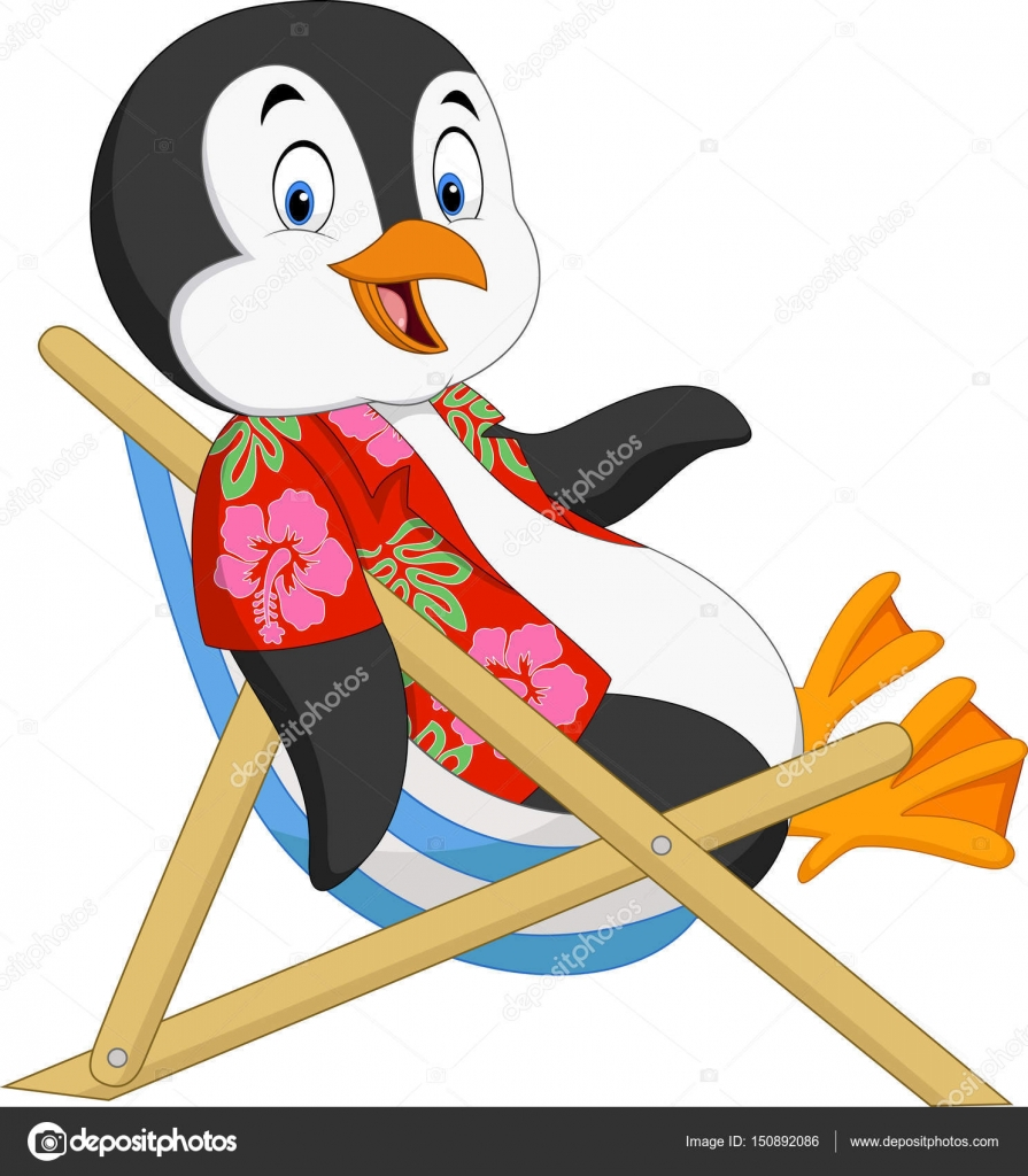 Strandkorb comic  Cartoon-Pinguin auf Strandkorb sitzend — Stockvektor © tigatelu ...