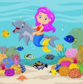 Roztomilá mořská víla s dolphin podvodní pozadí