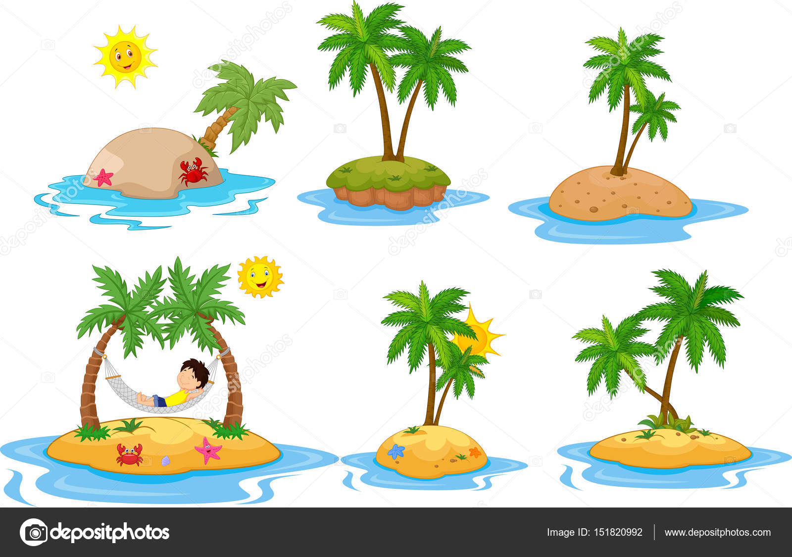 Tropical Island Cartoon: Cartoon Tropical Island Collection Set