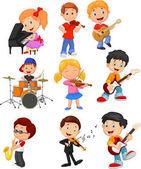 Cartoon kleine Kinder beim Musizieren