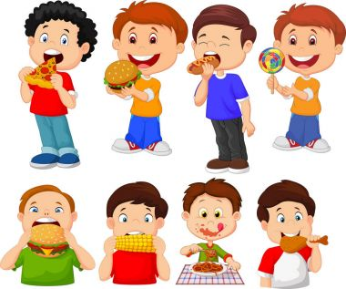Collection of cartoon little boy eating fast food