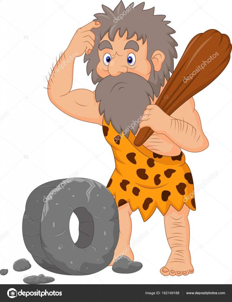 Caveman Wheel : Caveman inventing the wheel cartoon adultcartoon
